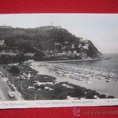 Postales: SAN SEBASTIAN - PLAYA DE ONDARRETA Y MONTE IGUELDO. Lote 12718092