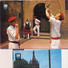 Postales: BILBAO. PAREJA TÍPICA Y BASÍLICA DE BEGOÑA. DOS POSTALES COLOR, C. 1970. BI. Lote 24333481