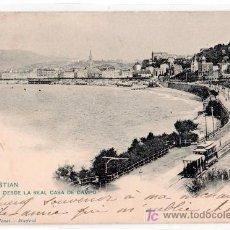 Cartoline: TARJETA POSTAL DE SAN SEBASTIAN. VISTA DESDE LA REAL CASA DE CAMPO. 908 HAUSER Y MENET. Lote 14027961