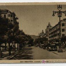 Postales: SAN SEBASTIÁN.-AVENIDA DE ESPAÑA. FECHADO EN 1950. Lote 14186159