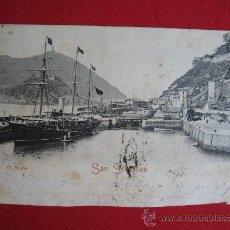 Postales: SAN SEBASTIAN - EL MUELLE. Lote 14874745