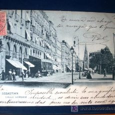 Postales: POSTAL ANTIGUA SAN SEBASTIÁN CALLE HERNANI. HAUSER&MENET. CIRCULADA EL 18/09/1902. DORSO SIN DIVIDIR. Lote 25917007