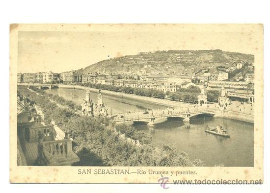 SAN SEBASTIAN .. RIO URUMEA Y PUENTES 1949 (Postales - España - País Vasco Moderna (desde 1940))