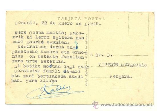 Postales: SAN SEBASTIAN .. Rio Urumea y puentes 1949 - Foto 2 - 16304346