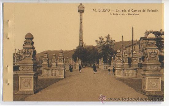 TARJETA POSTAL ENTRADA AL CAMPO DE VOLANTIN BILBAO VIZCAYA (Postales - España - Pais Vasco Antigua (hasta 1939))