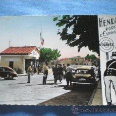 Postales: POSTAL HENDAYA FRONTERA FRANCO ESPAÑOLA CURIOSA!!! CACHEO EN ADUANA!! 1959 NO CIRCULADA. Lote 26415467