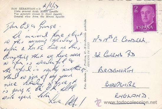 Postales: SAN SEBASTIAN (GUIPUZCOA): VISTA GENERAL DESDE MONTE IGUELDO: POSTAL CIRCULADA DE FOTO GALARZA. - Foto 2 - 16587279