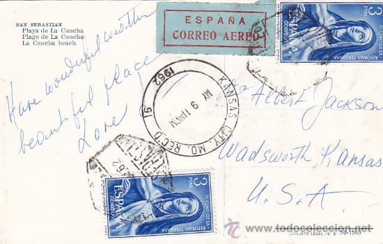 Postales: SAN SEBASTIAN (GUIPUZCOA) 1962: PLAYA DE LA CONCHA: BONITA TARJETA POSTAL CIRCULADA A KANSAS CITY. - Foto 2 - 16704580