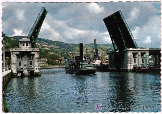 BONITA POSTAL - BILBAO - PUENTE BASCULANTE DEL GENERALISIMO (Postales - España - País Vasco Moderna (desde 1940))