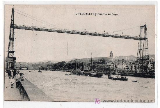 TARJETA POSTAL DE PORTUGALETE Y PUENTE VIZCAYA. L. G. BILBAO (Postales - España - Pais Vasco Antigua (hasta 1939))