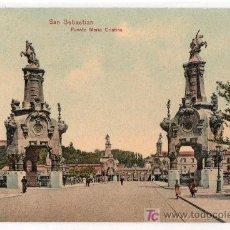 Postales: TARJETA POSTAL DE SAN SEBASTIAN. PUENTE MARIA CRISTINA. DR. TRENKLER CO. LEIPZIG. Lote 16931254
