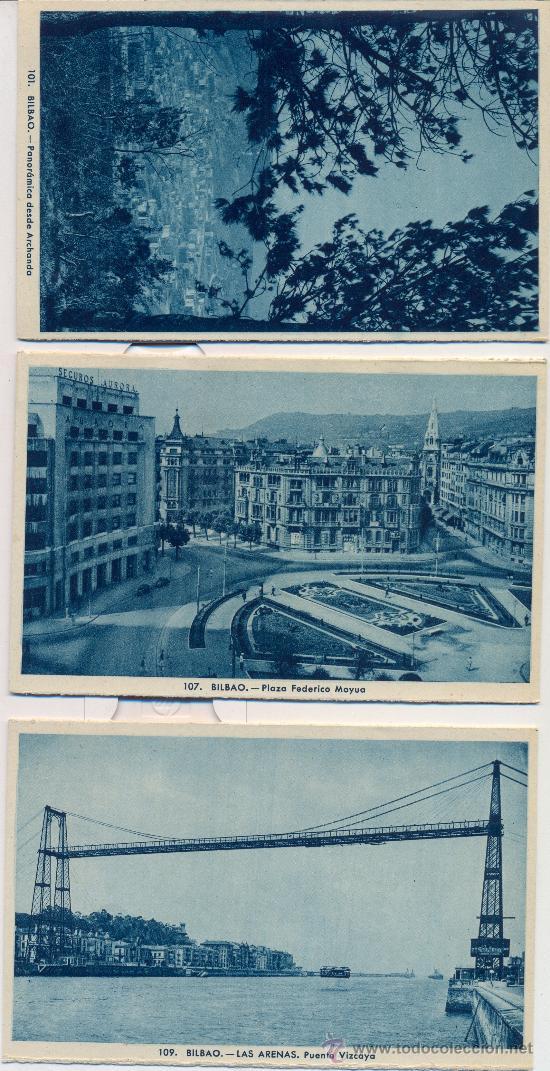 BILBAO. TRES POSTALES, TONOS AZULES, C. 1960-1965 (Postales - España - País Vasco Moderna (desde 1940))