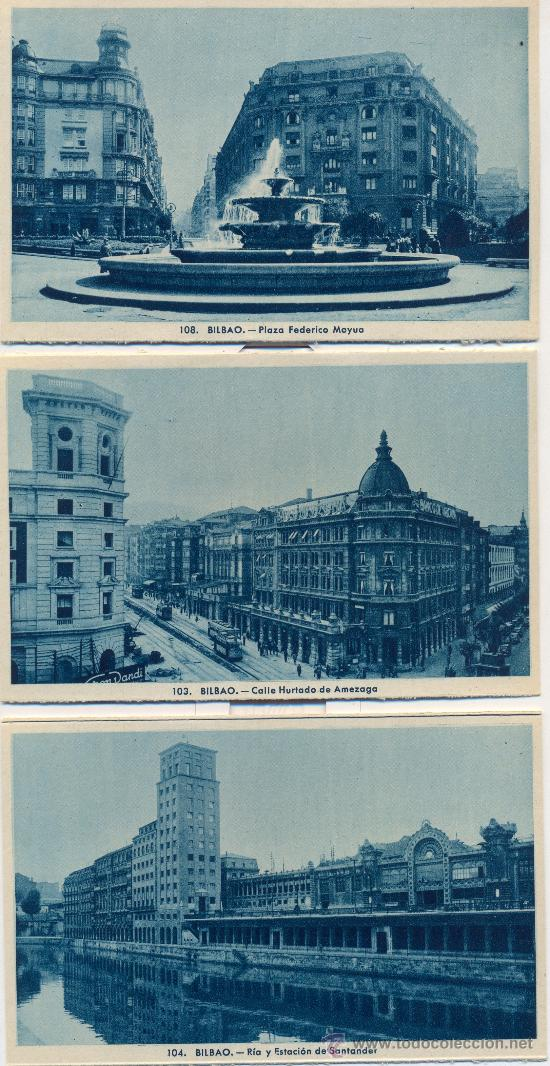 BILBAO. TRES POTSALES, TONOS AZULES, C. 1960-1965 (Postales - España - País Vasco Moderna (desde 1940))