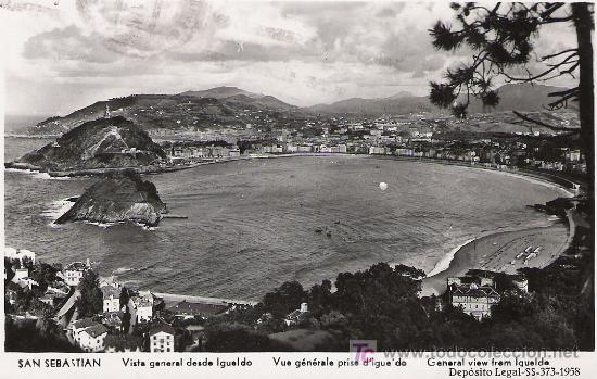 SAN SEBASTIAN - VISTA GENERAL DESDE IGUELDO - MANIPEL - (Postales - España - País Vasco Moderna (desde 1940))