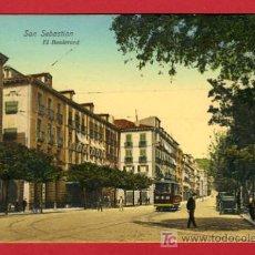 Postales: SAN SEBASTIAN, GUIPUZCOA, EL BOULEVARD, P34640. Lote 17156446
