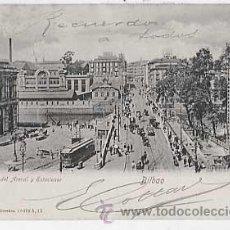Postales: BILBAO. PUENTE DEL ARENAL Y ESTACIONES. RÖMMLER & JONAS. REVERSO SIN DIVIDIR. CIRCULADA. Lote 17633277
