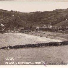 Postales: DEVA (GUIPUZCOA).- PLAYA Y ENTRADA DEL PUERTO. Lote 19453331