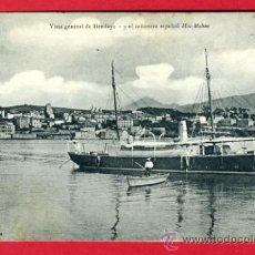 Postales: HENDAYA , VISTA GENERAL , Y EL CAÑONERA ESPAÑOL, MAC MAHON , BARCO , P43967. Lote 21714615