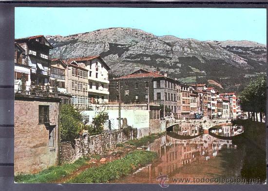POSTAL DE AZCOITIA - VISTA PARCIAL Y RIO UROLA (Postales - España - País Vasco Moderna (desde 1940))