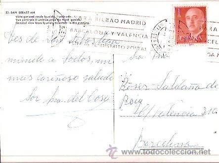 Postales: POSTAL A COLOR 53 SAN SEBASTIAN VISTA GENERAL DESDE IGUELDO ILUMINADA MANIPEL ESCRITA 1968 - Foto 2 - 25198127
