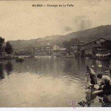 Postales: BILBAO. VIZCAYA. PAISAJE DE LA PEÑA. LAVANDERAS. . GRANDES ALMANCENES AMANN. SIN CIRCULAR.. Lote 25530183