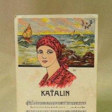 Postales: ANTIGUA POSTAL VASCA, PARTITURA, KATALIN, KARLE, URIARTE. Lote 26383900