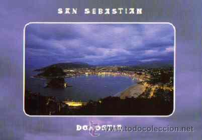 SAN SEBASTIAN - VISTA GENERAL DESDE IGUELDO. ILUMINADA (Postales - España - País Vasco Moderna (desde 1940))
