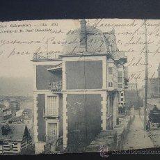 "Postales: ""SAN SEBASTIÁN. VILLA ALTA..."". CIRCULADA, ESCRITA Y SELLO 10 CTS ALFONSO XIII (15-IX-1905). Lote 27493376"