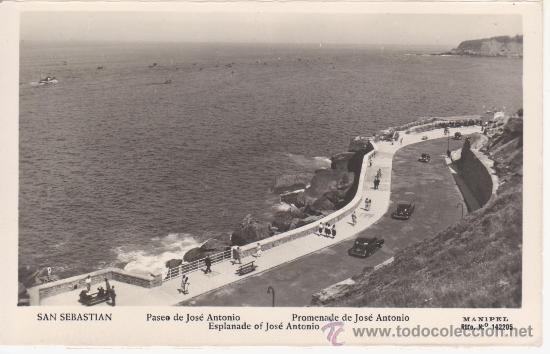 SAN SEBASTIAN. PASEO DE JOSE ANTONIO.MANIPEL Nº 142205 (Postales - España - País Vasco Moderna (desde 1940))