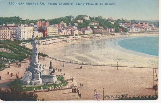 SAN SEBASTIAN.320 .PARQUE DE ALDERI-EDER Y PLAYA DE LA CONCHA. (Postales - España - País Vasco Moderna (desde 1940))