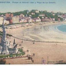 Postales: SAN SEBASTIAN.320 .PARQUE DE ALDERI-EDER Y PLAYA DE LA CONCHA.. Lote 27577967