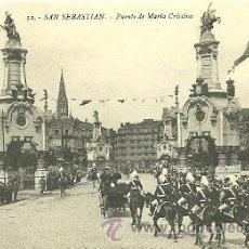 Postales: POSTAL 9 X 13 CTM. DE SAN SEBASTIAN, PUENTE DE MARIA CRISTINA . Lote 28039128