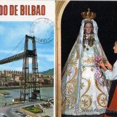 Postales: RECUERDO DE BILBAO Nº 7405 PUENTE VIZCAYA Y PUENTE DE BEGOÑA BEASCOA ESCRITA CIRCULADA SELLO. Lote 28122824