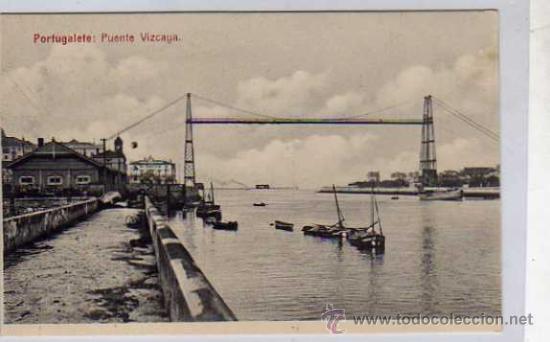 BILBAO. PORTUGALETE. PUENTE VIZCAYA. L. Y G. VIZCAYA. SIN CIRCULAR. (Postales - España - Pais Vasco Antigua (hasta 1939))