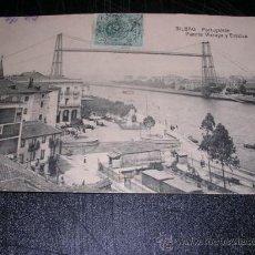 Postales: BILBAO PORTUGALETE ,PUENTE VIZCAYA Y ESTATUA, -POSTAL CIRCULADA 1920 - 14X9 CM.. Lote 29350946