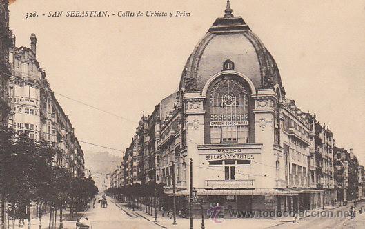SAN SEBASTIÁN, PALACIO BELLAS ARTES ENTRE CALLE URBIETA Y PRIM, EDITOR: GREGORIO G. GALARZA Nº 328 (Postales - España - País Vasco Moderna (desde 1940))