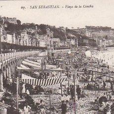 Postales: SAN SEBASTIÁN, PLAYA DE LA CONCHA, EDITOR: GREGORIO G. GALARZA Nº 67. Lote 29351282