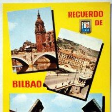 Postales: VIZCAYA. BILBAO. PUENTE DE SAN ANTONIO. AYUNTAMIENTO Y PUENTE DEL GENERAL MOLA.. Lote 29541486