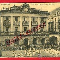 Postales: SAN SEBASTIAN, GUIPUZCOA, PLAZA DE LA CONSTITUCION, UNA FIESTA, P65741. Lote 29887039
