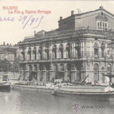 Postales: BUENA POSTAL DE BILBAO - LA RIA Y TEATRO ARRIAGA - S.201 - 41 FOTP, CASTAÑEIRA Y ALVAREZ 1919. Lote 30061197