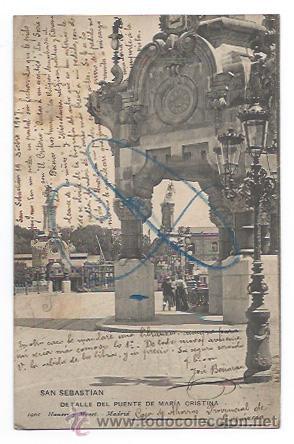 SAN SEBASTIAN. DETALLE DEL PUENTE DE SANTA MARIA. (HAUSER Y MENET, 1901). VER DESCRIPCIÓN. (Postales - España - Pais Vasco Antigua (hasta 1939))