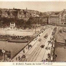 Postales: POSTAL DE BILBAO PUENTE DE ISABEL II ARENAL DE ROISINI Nº 11 TONALIDAD AMARRONADO FUERTE. Lote 30501797