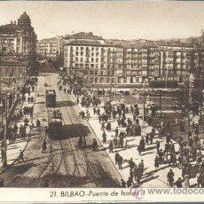 Postales: POSTAL DE BILBAO PUENTE DE ISABEL II DE ROISINI Nº 21 DE TONO AMARRONADO. Lote 30501811