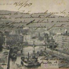 Postales: RRR POSTAL DE 1909 DEL PUENTE DEL ARENAL DE BILBAO - BARCAZAS - PAIS VASCO - EUSKADI. Lote 31009420