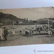 Postales: POSTAL DE SAN SEBASTIAN LA PLAYA . ESCRITA EN 1918. C. Y M.. Lote 31126396