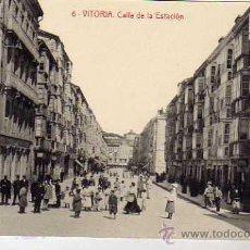 Postales: VITORIA. 6. FOTOTIPIA THOMAS 2712. SIN CIRCULAR. CALLE DE LA ESTACION.. Lote 31249970