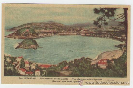 SAN SEBASTIAN - VISTA GENERAL DESDE IGUELDO - EDICIÓN MANIPEL - POSTAL (Postales - España - País Vasco Moderna (desde 1940))
