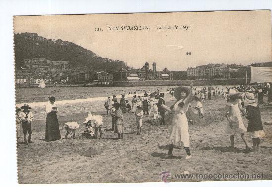POSTAL DE SAN SEBASTIAN -ESCENAS DE PLAYA Nº 222 (Postales - España - Pais Vasco Antigua (hasta 1939))