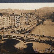 Postales: BILBAO – PUENTE DE LA MERCED Y CALLE DE LA RIBERA – L. ROISIN FOT. BARCELONA. Lote 31684982