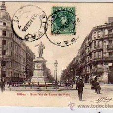Postales: BILBAO. P Z. 10216. GRAN VIA DE LOPEZ DE HARO. REVERSO SIN DIVIDIR. CIRCULADA.. Lote 31907738
